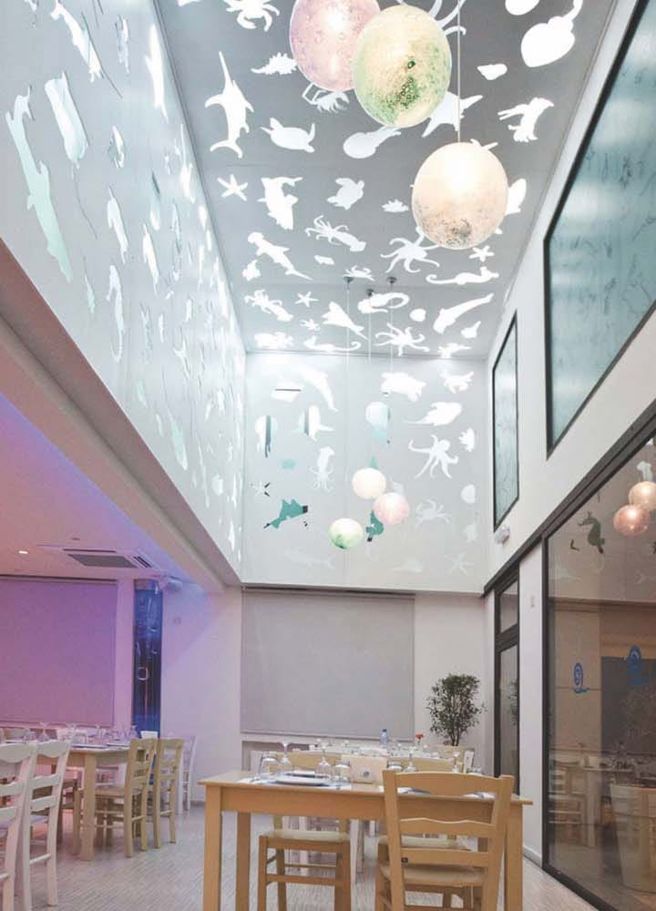 waterbubbles sea creatures cutouts ceiling design