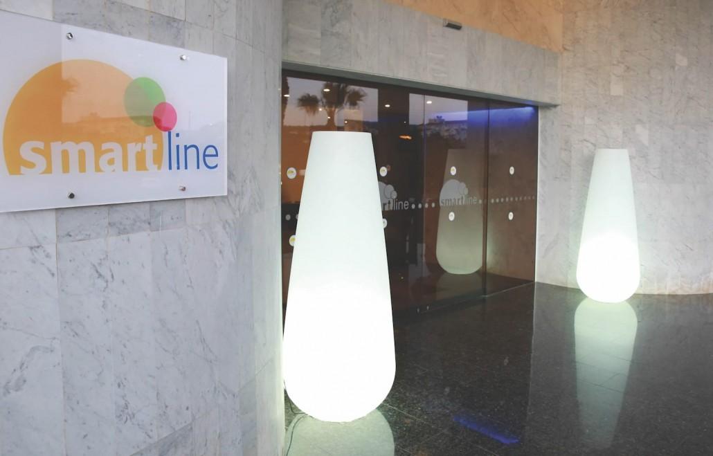 hotel entrance light sculptures daytime