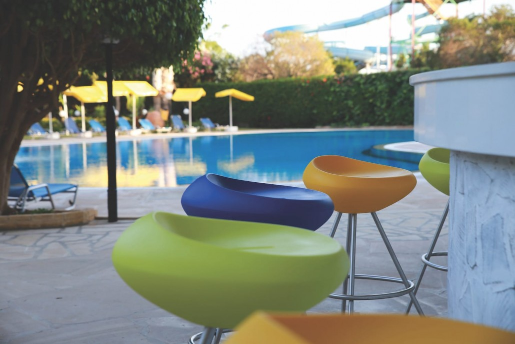 pool bar stools yellow blue limegreen