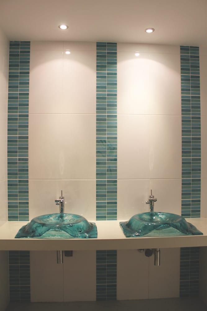 restrooms design custom glass washing basins tiles