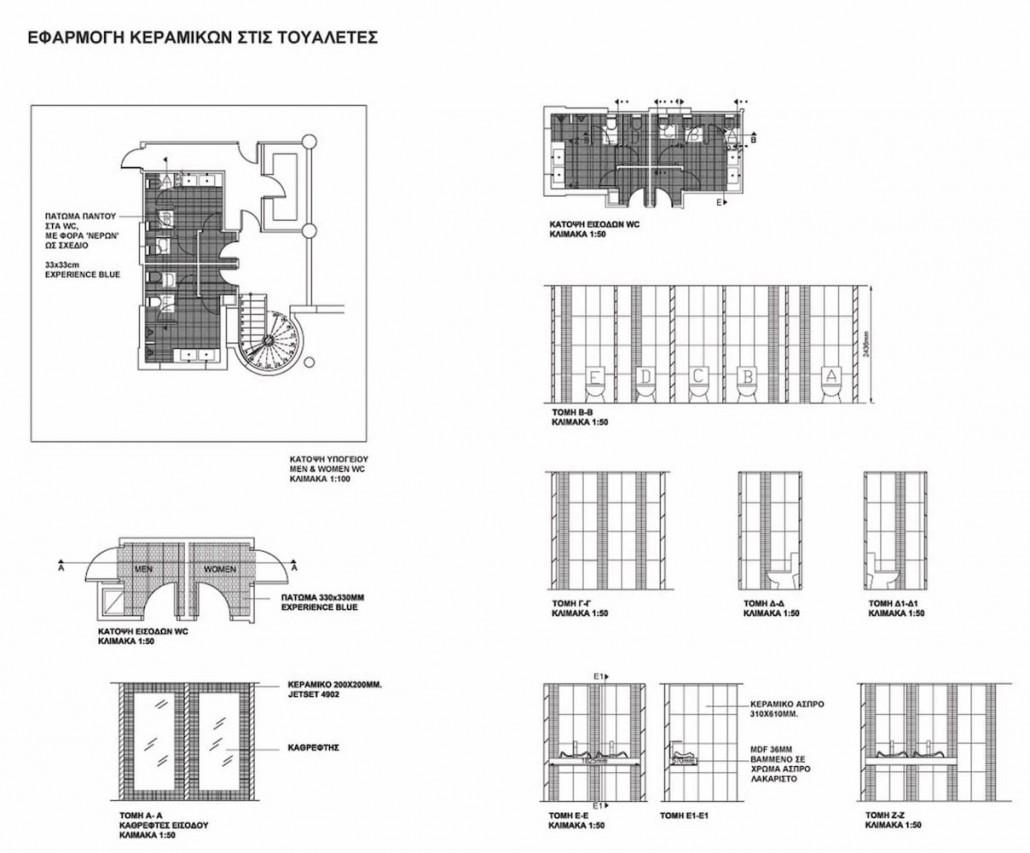 Restrooms design tile placement