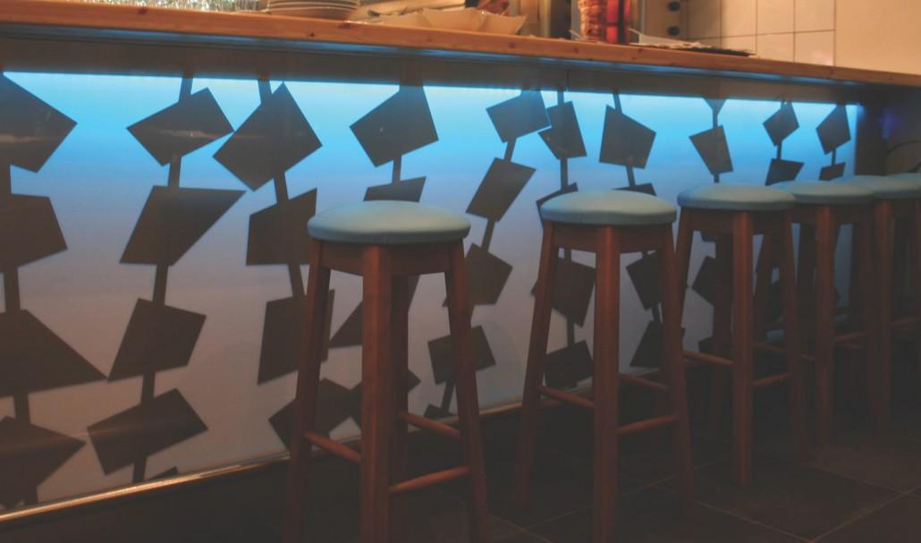 backlight bar counter skewers acrylic wood metal nightime