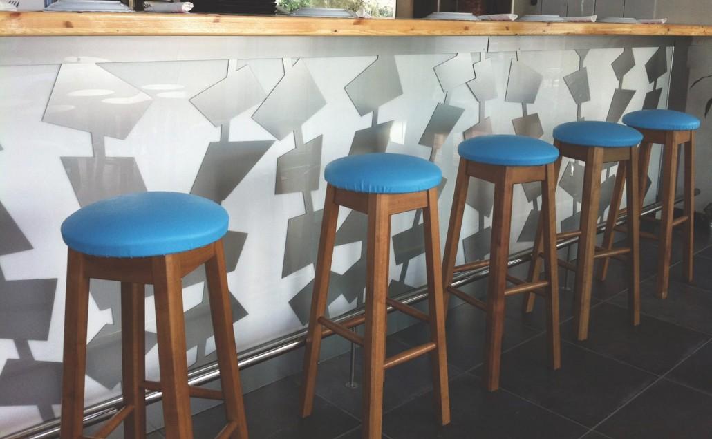 bar counter skewers acrylic wood metal daytime