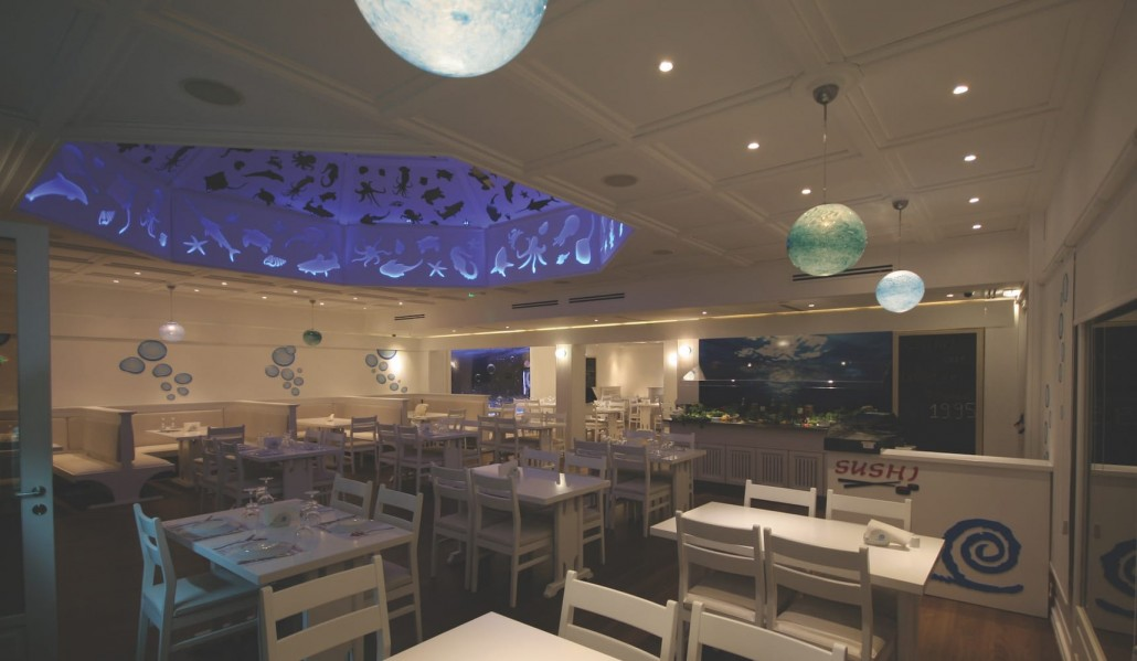fish restaurant interior design nighttime