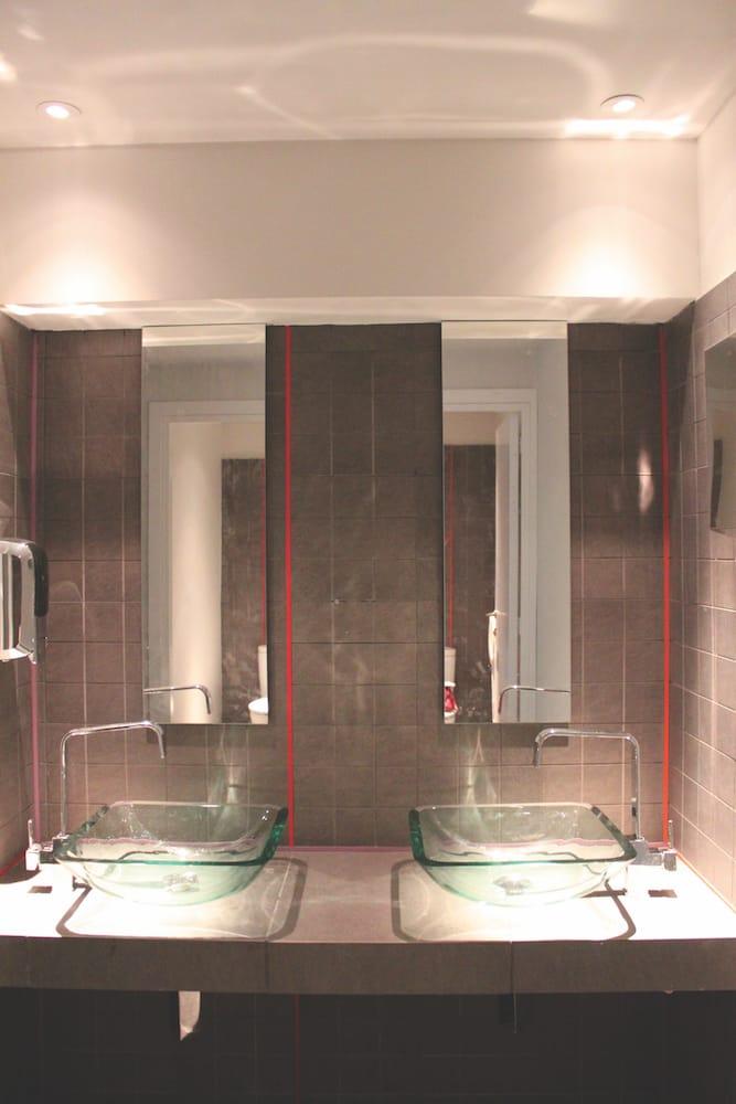 glass washing basin reflections