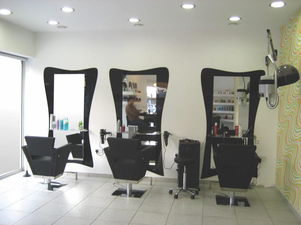 mirrors black acrylic hair treatment area