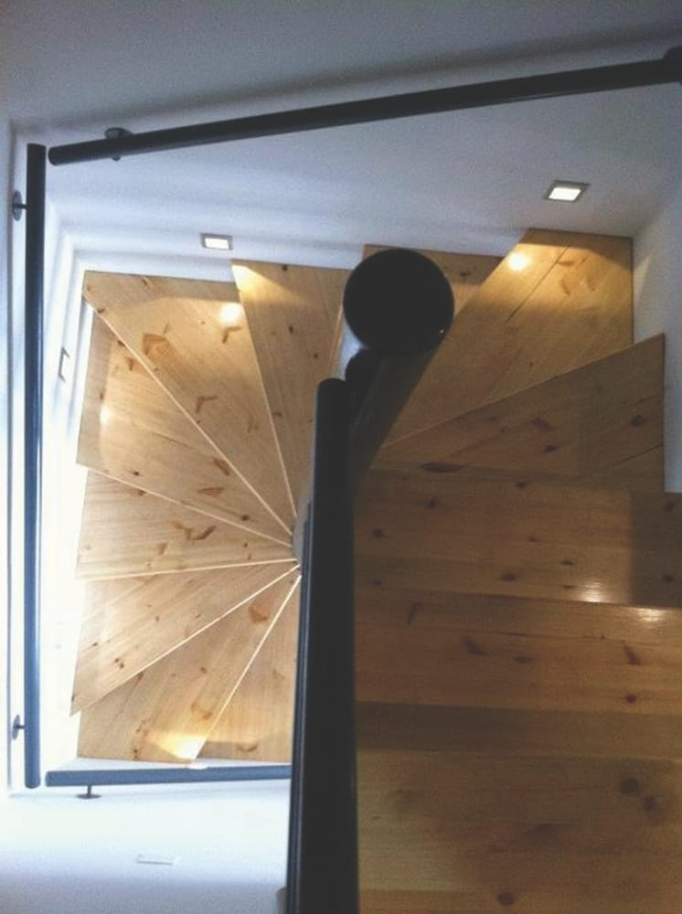 staircase square wood metal walllights