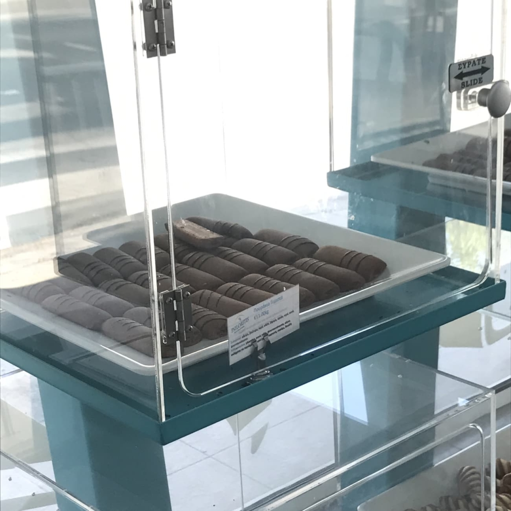Closeup of the plexiglas box used as display for the small savories and pastries
