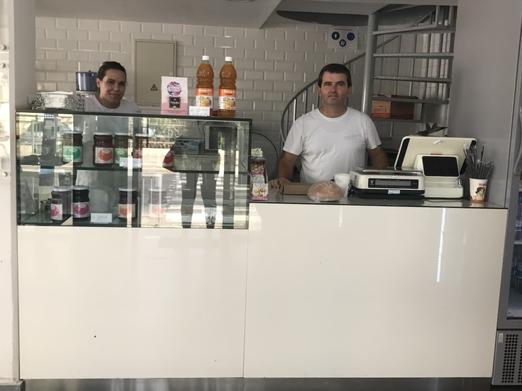 The service team behind the cashier counter, Psiloritis Greek Bakery