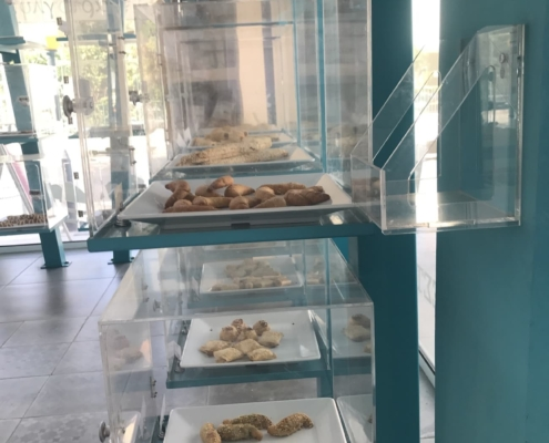 The freshly baked cookies and pastry on display in Psiloritis Bakery, Limassol Cyprus