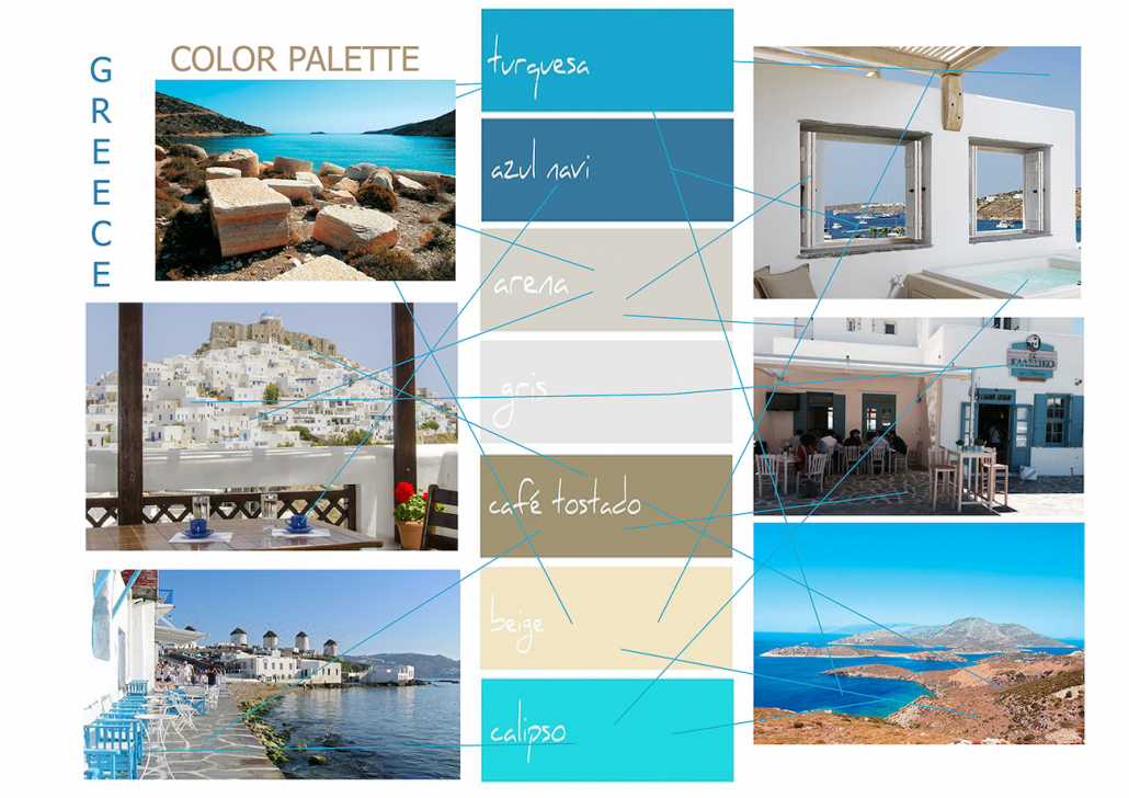 The colors of the design concept were inspired by the various bluish and sand tones of the sea and beach sourounding the Greek islands