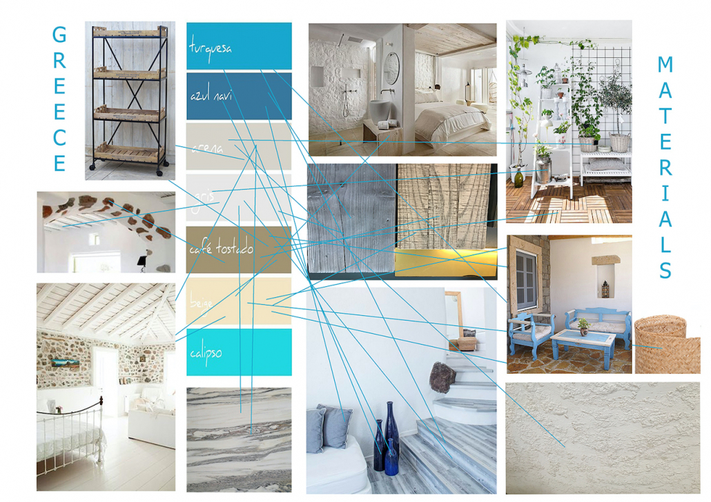 The various materials for the design concept are inspired from the materials to be found on a Greek island